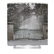 Old Driveway Gate In Winter Shower Curtain