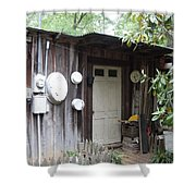 Old Exterior River Bld. Shower Curtain