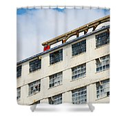 Old Factory Under A Clear Blue Sky Shower Curtain