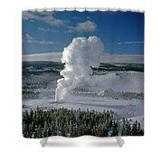 3m09133-01-old Faithful Geyser In Winter - V Shower Curtain