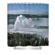 3m09132-01-old Faithful Geyser In Winter Shower Curtain