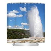 Old Faithful Geyser In Yellowstone National Park  Shower Curtain