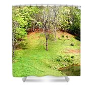 Old Farm House And Pond Shower Curtain