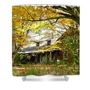 Old Farm House Behind Color Shower Curtain