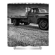 Old Farm Truck Black And White Shower Curtain