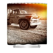 Old Farm Truck With Explosion At Night Shower Curtain