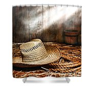 Old Farmer Hat And Rope Shower Curtain