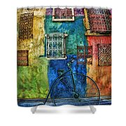 Old Fashion Bike And Blue Wall Shower Curtain