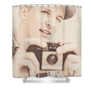 Old Fashion Male Freelance Photographer Shower Curtain