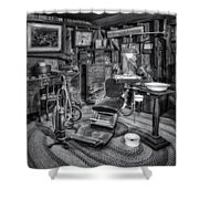 Old Fashioned Dentist Office Bw Shower Curtain