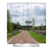 Old Fashioned Gravel Road Shower Curtain