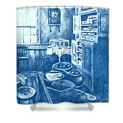 Old Fashioned Kitchen In Blue Shower Curtain