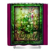 Old Fashioned Merry Christmas - Roses And Babys Breath - Holiday And Christmas Card Shower Curtain