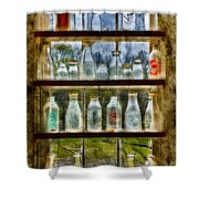 Old Fashioned Milk Bottles Shower Curtain by Susan Candelario