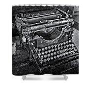 Old Fashioned Underwood Typewriter Bw Shower Curtain