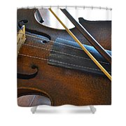Old Fiddle And Bow Still Life 2 Shower Curtain