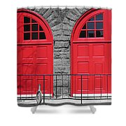 Old Fire Hall Doors Shower Curtain