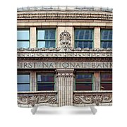 Old First National Bank - Building - Omaha Shower Curtain