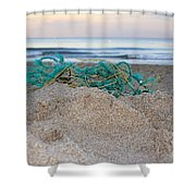 Old Fishing Net On Beach Shower Curtain