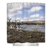 Old Fishing Platform By The Dalles Bridge Shower Curtain