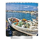 Old Fishing Wooden Boat With Nets Shower Curtain