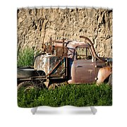 Old Flatbed International Truck Shower Curtain