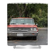 Old Ford Galaxy In The Rain Shower Curtain