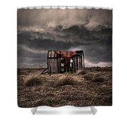 Old Forgotten Shade With Red Fish Net Shower Curtain