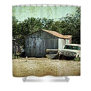 Old Garage And Car In Seligman Shower Curtain