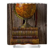 Old Globe On Old Books Shower Curtain