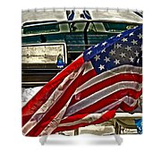 Old Glory And The Bay Shower Curtain