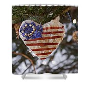 Old Glory Heart Shower Curtain