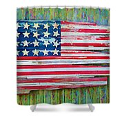 Old Glory In Wood Impression Shower Curtain