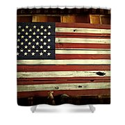 Old Glory In Wood Shower Curtain