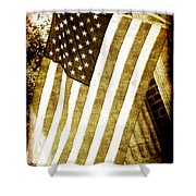 Old Glory Sepia Rustic Shower Curtain