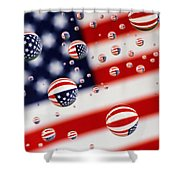 Old Glory Water Drops Shower Curtain