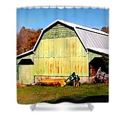 Old Green Barn South Of Rosman Shower Curtain