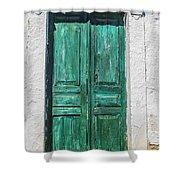 Old Green Door Shower Curtain