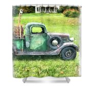 Old Green Pickup Truck Shower Curtain