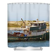 Old Green Scow Morro Bay Harbor Shower Curtain