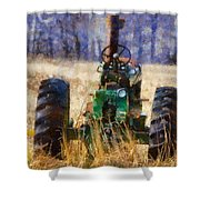 Old Green Tractor On The Farm Shower Curtain