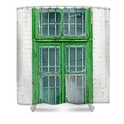 Old Green Wooden Window Shower Curtain