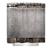Old Grunge Plywood Board On A Wooden Wall Shower Curtain