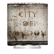 Old Grunge Stone Board With City Of London Text Shower Curtain