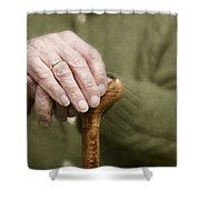 Old Hands Of A Senior On Walking Stick Shower Curtain