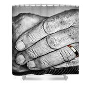 Old Hands With Wedding Band Shower Curtain