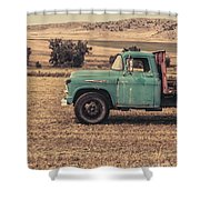 Old Hay Truck In The Field Shower Curtain