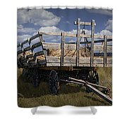 Old Hay Wagon In The Prairie Grass Shower Curtain