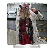 Old Hippie In Woodstock Ny  Shower Curtain
