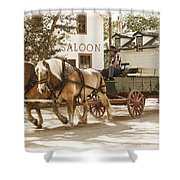 Old Horse Drawn Wagon At Fort Edmonton Park Shower Curtain